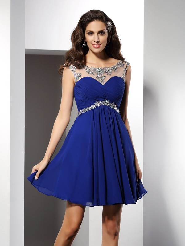Chiffon A-Line/Princess Scoop With Beading Sleeveless Short Cocktail Dresses