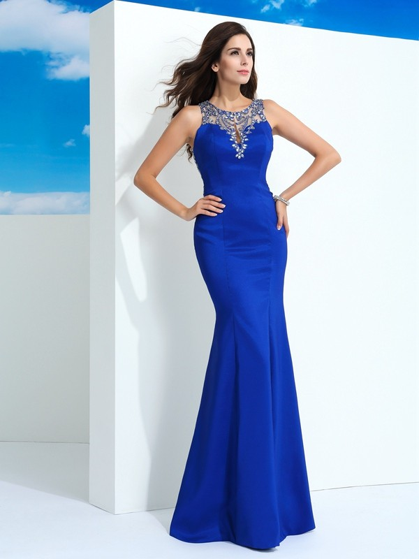 Sheath/Column Sheer Neck Sleeveless With Beading Long Chiffon Dresses