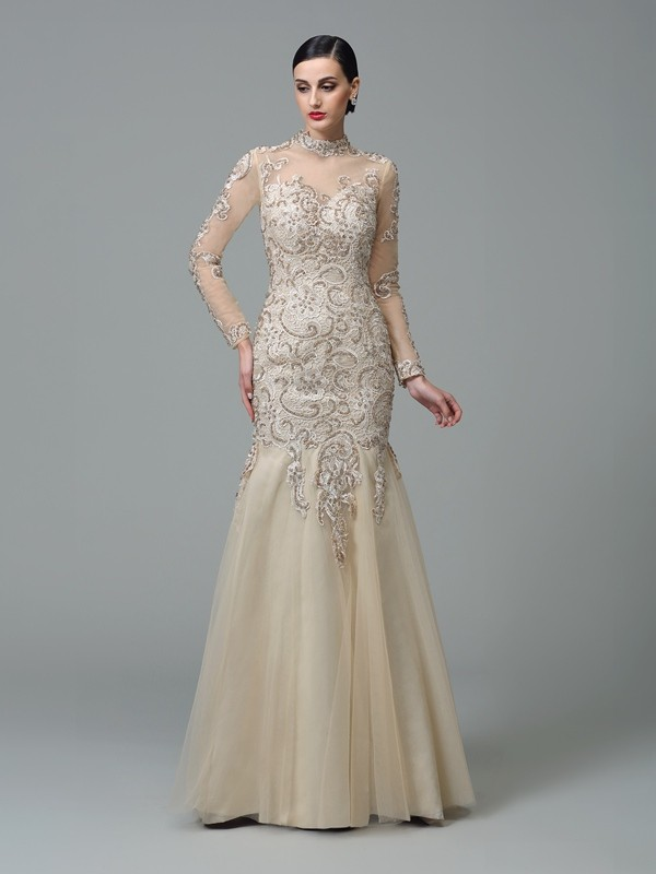 Sheath/Column High Neck Long Sleeves With Applique Long Net Dresses