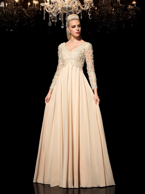 Awesome A-Line/Princess V-neck Long Sleeves Floor-Length Chiffon Dresses With Applique