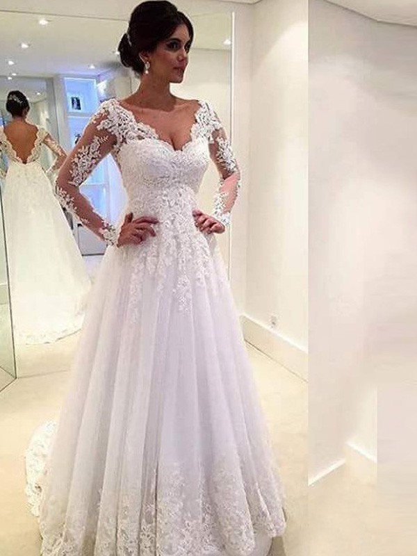 Ball Gown V-neck Long Sleeves Sweep/Brush Train Lace Tulle Wedding Dresses