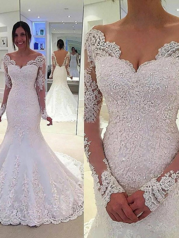 Mermaid V-neck Long Sleeves Court Train Tulle Lace Wedding Dresses