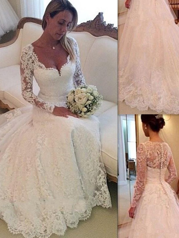 Amazing Court Train Ball Gown V-neck Long Sleeves Lace Tulle Wedding Dresses