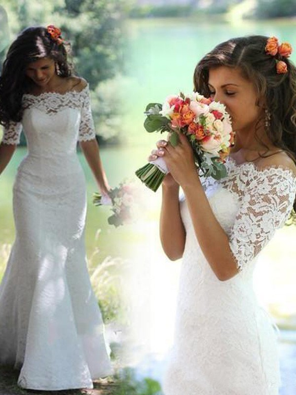 Charming Mermaid Off-the-Shoulder 1/2 Sleeves Lace Sweep/Brush Train Wedding Dresses