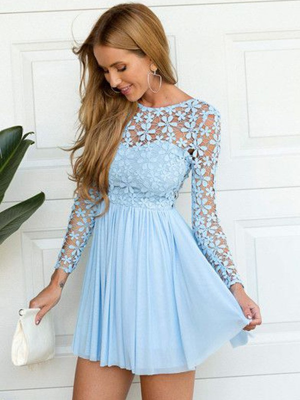 Stylish A-Line/Princess Scoop Long Sleeves Chiffon Lace Short/Mini Dresses