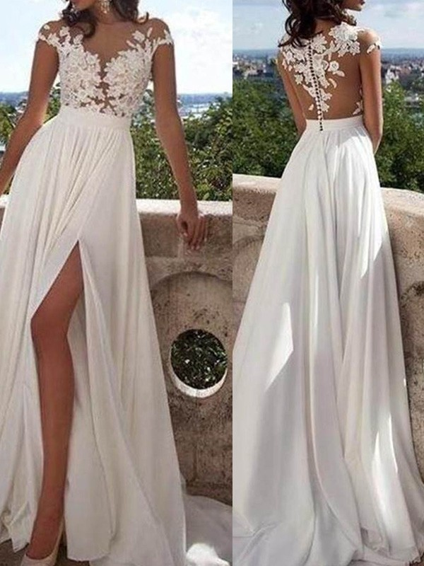 A-Line/Princess Scoop Short Sleeves Chiffon Long Dresses With Applique