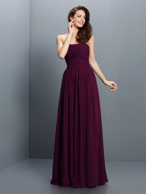 A-Line/Princess Pleats Sleeveless Strapless Long Chiffon Bridesmaid Dresses