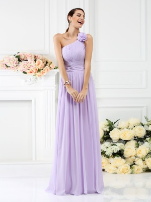 A-Line/Princess One-Shoulder Pleats Chiffon Hand-Made Flower Sleeveless Long Bridesmaid Dresses