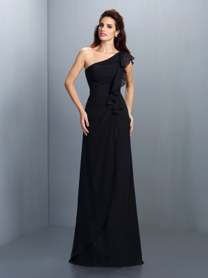 Sheath/Column One-Shoulder Chiffon With Pleats Sleeveless Long Bridesmaid Dresses