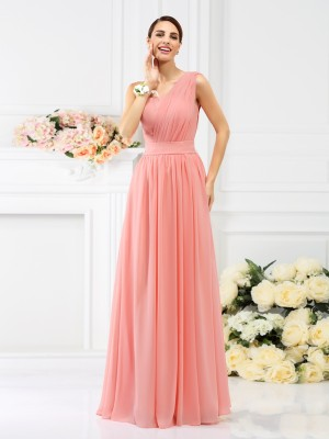 One-Shoulder A-Line/Princess Sleeveless Floor-Length Chiffon Bridesmaid Dresses With Pleats