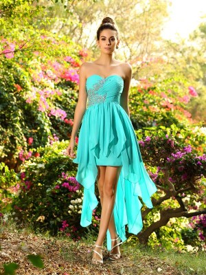 A-Line/Princess Sweetheart Chiffon With Beading Sleeveless High Low Bridesmaid Dresses