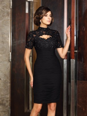 Sheath/Column High Neck Short Sleeves Short Chiffon Mother of the Bride Dresses With Beading