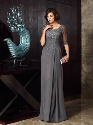 A-Line/Princess Scoop Chiffon 1/2 Sleeves Sweep/Brush Train Mother of the Bride Dresses With Beading