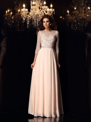 A-Line/Princess Scoop 3/4 Sleeves With Beading Long Chiffon Dresses