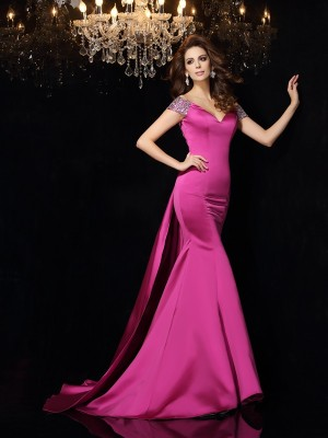 Trumpet/Mermaid Off-the-Shoulder Sleeveless Long Satin Dresses With Beading