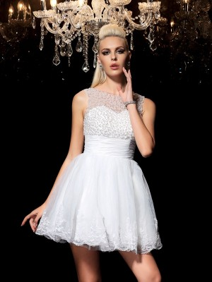 A-Line/Princess Sheer Neck Sleeveless With Beading Short Elastic Woven Satin Dresses