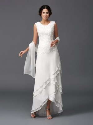 Elegant A-Line/Princess Scoop Sleeveless Lace Chiffon Asymmetrical Mother of the Bride Dresses