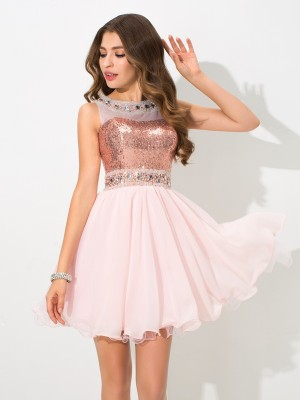 Sheer Neck A-Line/Princess Sequin Sleeveless Short Chiffon Dresses