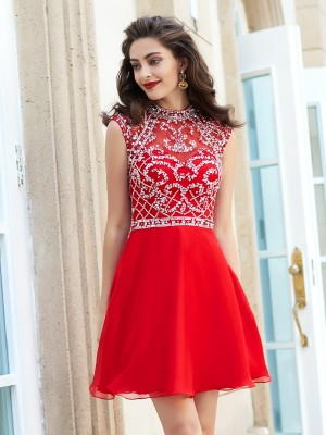 A-Line/Princess High Neck Sleeveless Short/Mini Chiffon Dresses With Beading