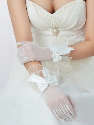 Adorable Tulle Bowknot Wedding Gloves