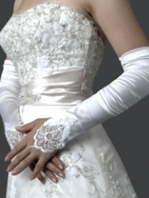 Adorable Elastic Satin Embroidery Elbow Gloves