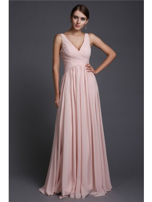 A-Line/Princess V-neck Sleeveless With Ruffles Chiffon Long Bridesmaid Dresses