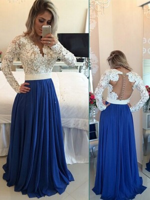 Stunning A-Line/Princess V-neck Floor-Length Long Sleeves Chiffon Dresses