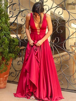 Attractive A-Line/Princess V-Neck Sleeveless With Ruffles Elastic Woven Satin Long Dresses