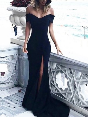 Sheath/Column Off-the-Shoulder Sleeveless Spandex Long Dresses With Ruched