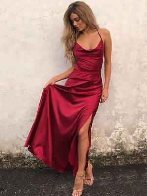 A-Line/Princess Spaghetti Straps Floor-Length Sleeveless With Ruffles Elastic Woven Satin Dresses
