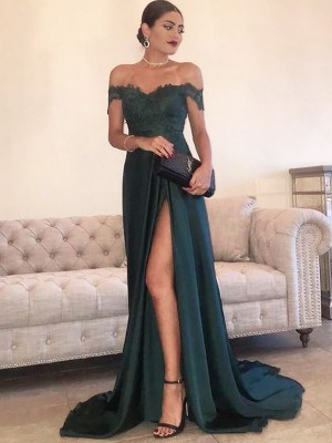 A-Line/Princess Off-the-Shoulder Sweep/Brush Train Sleeveless Lace Satin Dresses