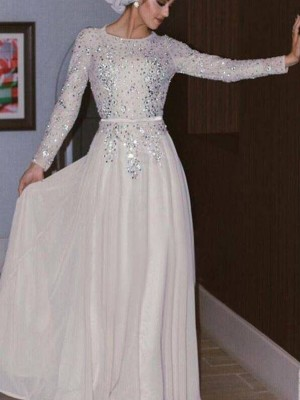 Chiffon Floor-Length A-Line/Princess Scoop Long Sleeves Muslim Dresses