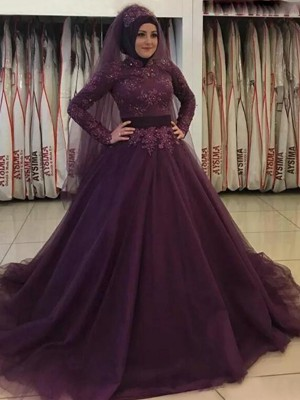 Sweep/Brush Train Ball Gown High Neck Tulle Long Sleeves Muslim Dresses