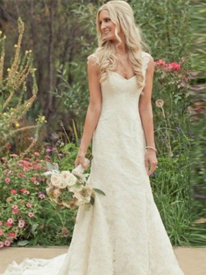 Adorable Sweet Trumpet/Mermaid V-neck Lace Sleeveless Sweep/Brush Train Wedding Dresses