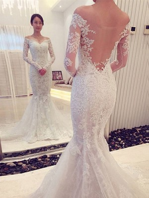 Elegant Trumpet/Mermaid Off-the-Shoulder Long Sleeves Chapel Train Lace Wedding Dresses