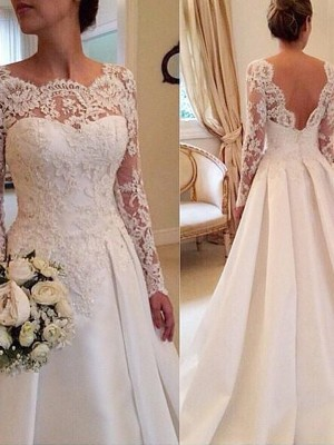 Stylish Ball Gown Scoop Long Sleeves Court Train Lace Satin Wedding Dresses