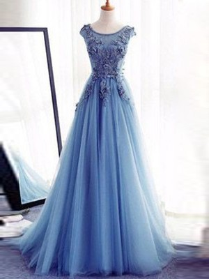 Ball Gown Jewel Sweep/Brush Train Sleeveless With Applique Tulle Dresses