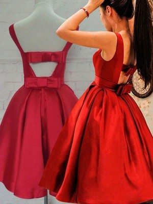 Dreamlike A-Line/Princess Sleeveless Scoop Sash/Ribbon/Belt Satin Short Dresses