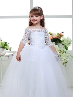 Floor-Length Ball Gown Off-the-Shoulder 1/2 Sleeves Lace Tulle Flower Girl Dresses