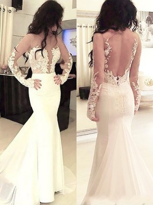 Trumpet/Mermaid Scoop Long Sleeves Chiffon Long Dresses With Applique