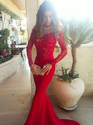 Sweep/Brush Train Mermaid Off-the-Shoulder Long Sleeves Lace Satin Dresses