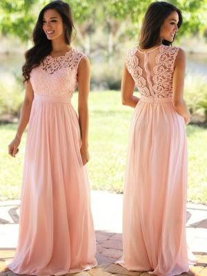 Stylish Floor-Length A-Line/Princess Scoop Sleeveless Chiffon Dresses With Applique