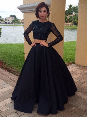 Flawless Floor-Length Ball Gown Long Sleeves Scoop Satin Beading Dresses