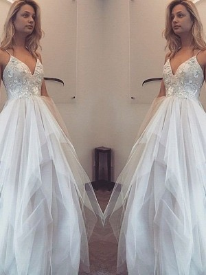 A-Line/Princess Floor-Length Spaghetti Straps Sleeveless Tulle Dresses