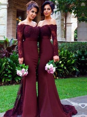 Trumpet/Mermaid Off-the-Shoulder Long Sleeves Satin Long Bridesmaid Dresses