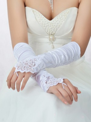 Adorable Lace Satin Beading Wedding Gloves