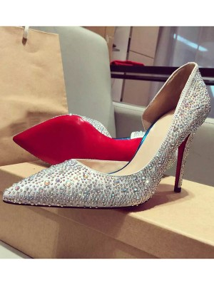 Women's Satin Closed Toe Stiletto Heel With Rhinestone High Heels