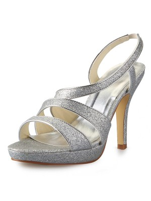 Women's Cone Heel Platform Satin Peep Toe With Sparkling Glitter Sandals Shoes
