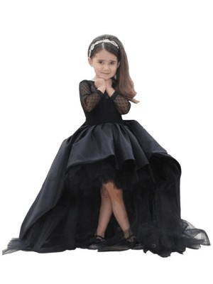 Ball Gown Scoop Long Sleeves Sweep/Brush Train Sash/Ribbon/Belt Satin Flower Girl Dresses