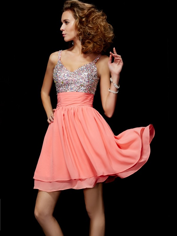 A-Line/Princess V-neck Chiffon Sleeveless With Beading Short Dresses